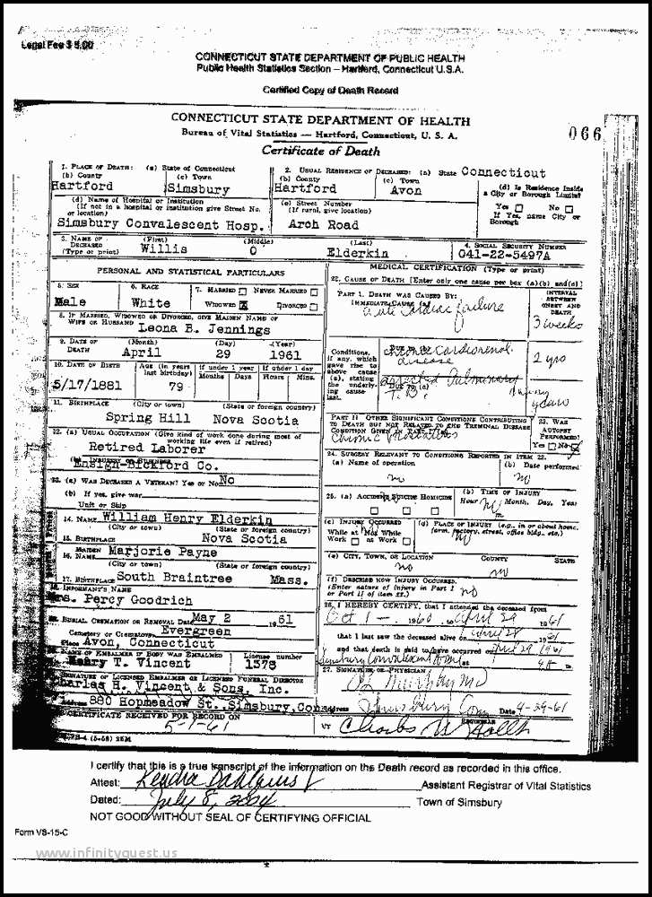 Puerto Rico Birth Certificate In New York Incomparable Death Certificate Of Willis Elderkin Death Certificate Of