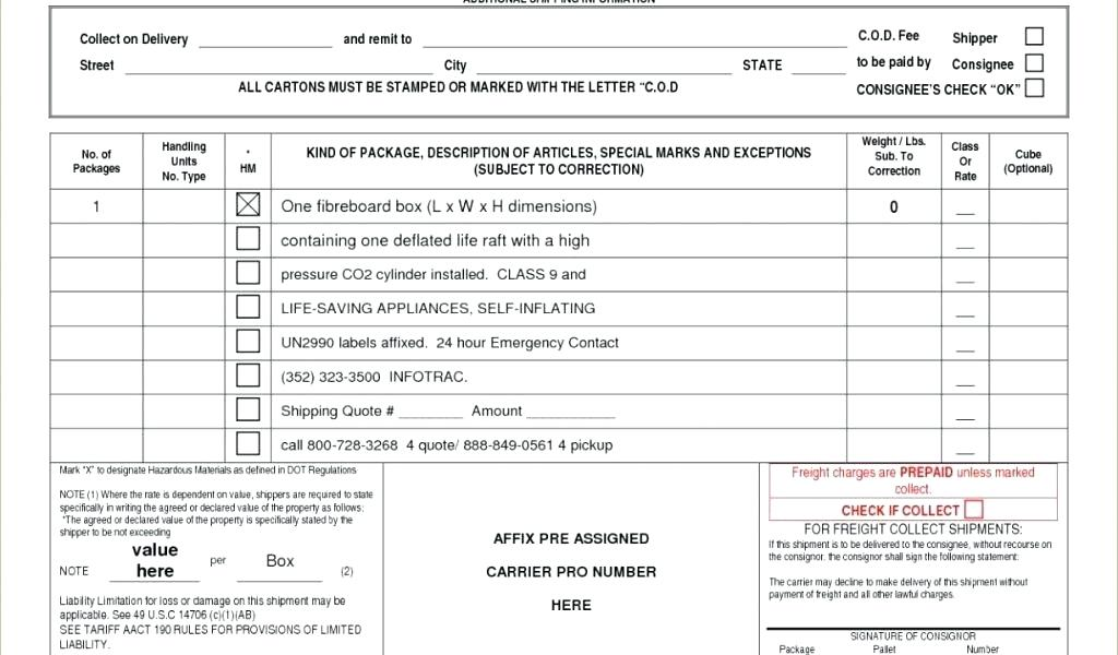 Purolator Bill Of Lading Forms