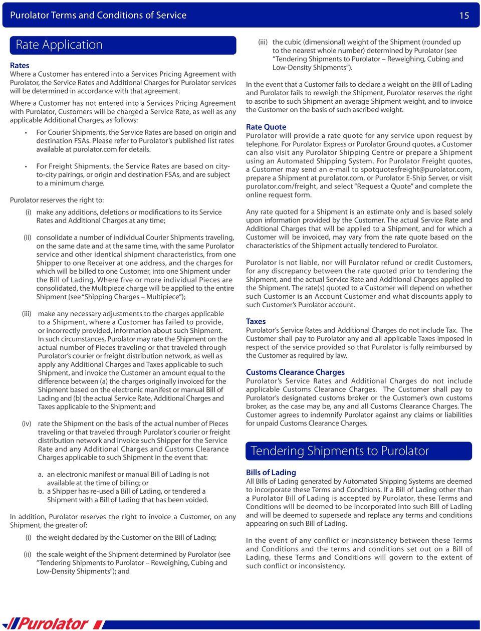 Purolator Freight Bill Of Lading Form