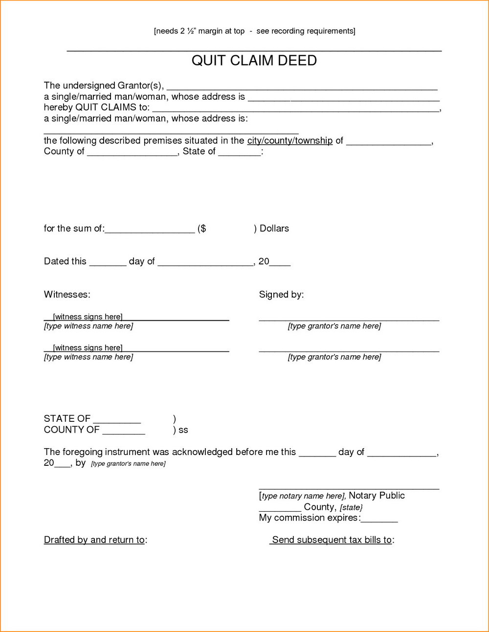 Quick Claim Deed Form Pinellas County Florida