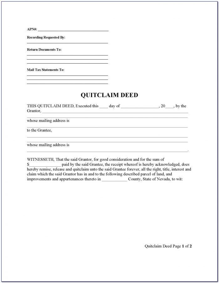 Quit Claim Deed Form Clark County Nevada