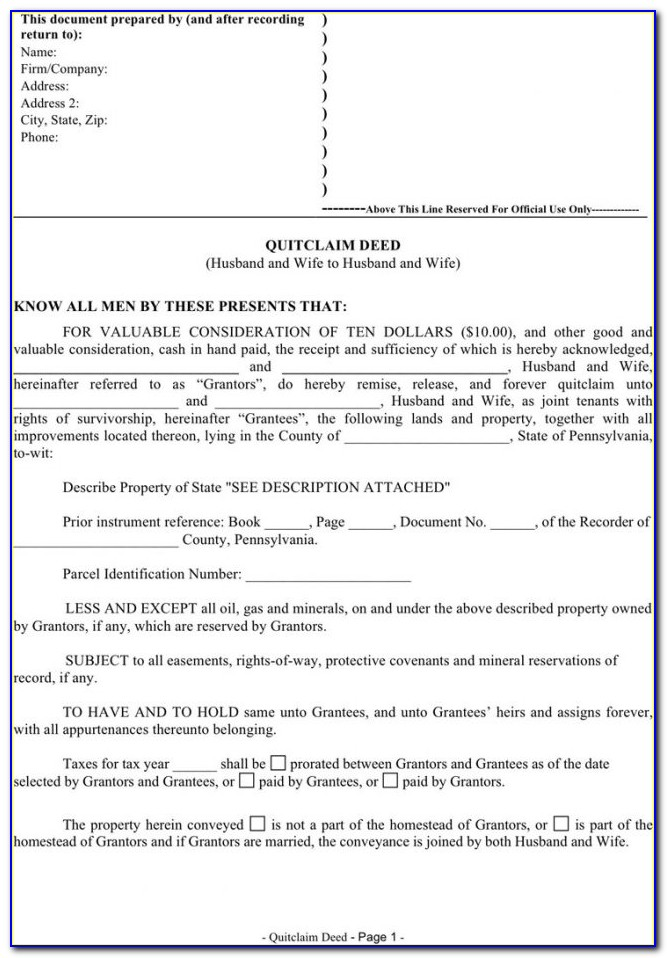 Quit Claim Deed Form El Paso Tx