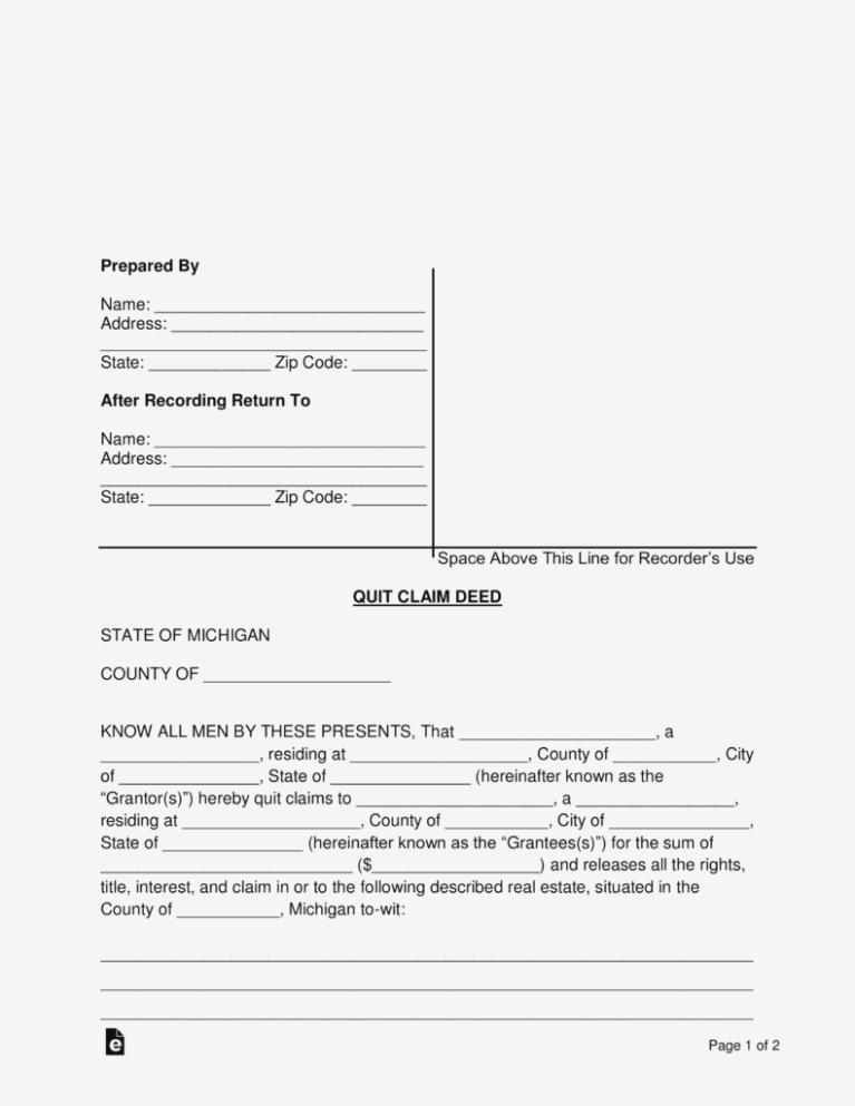 Quit Claim Deed Form Michigan
