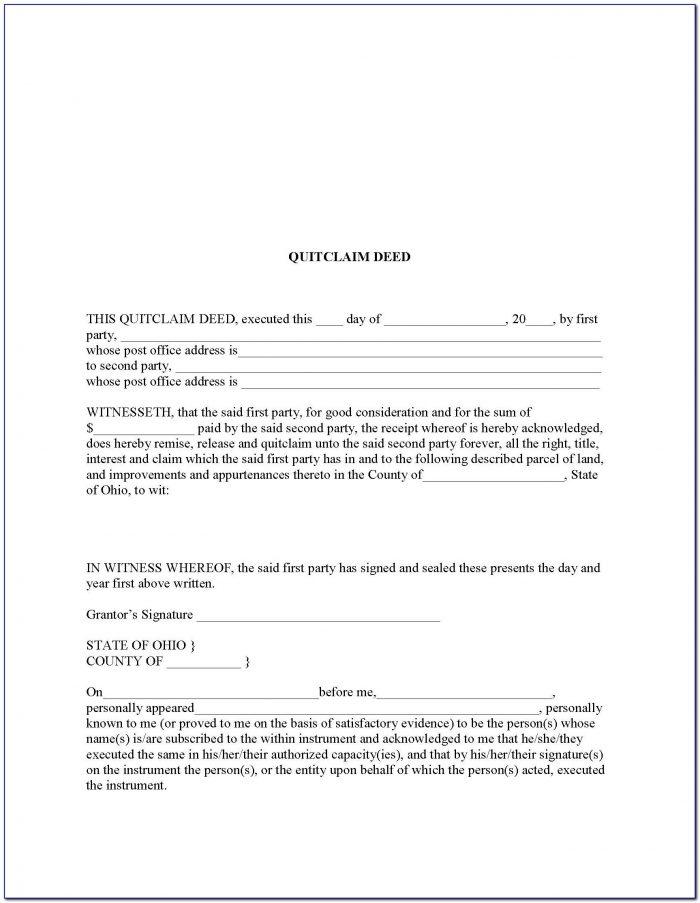 Quit Claim Deed Form Montgomery County Ohio