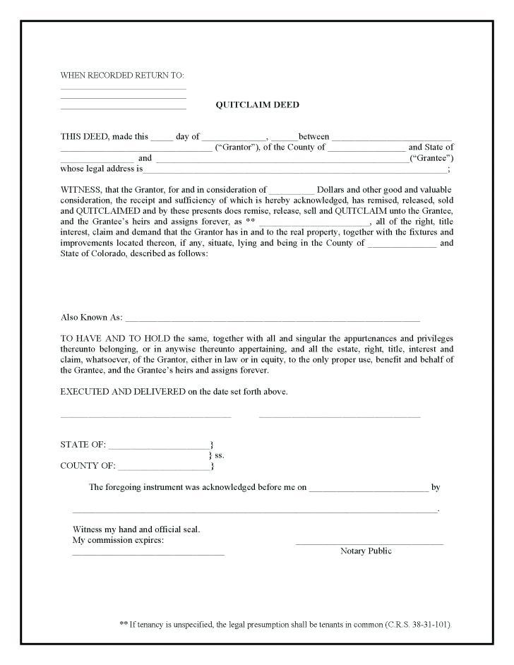 Quit Claim Deed Form Ohio Pdf