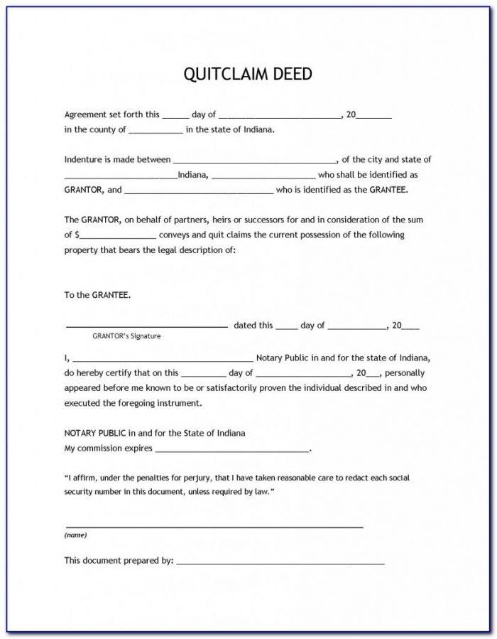 Quit Claim Deed Form Washington State Sample