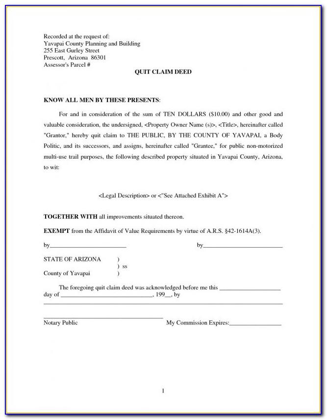 Quit Claim Deed Form Washoe County Nevada