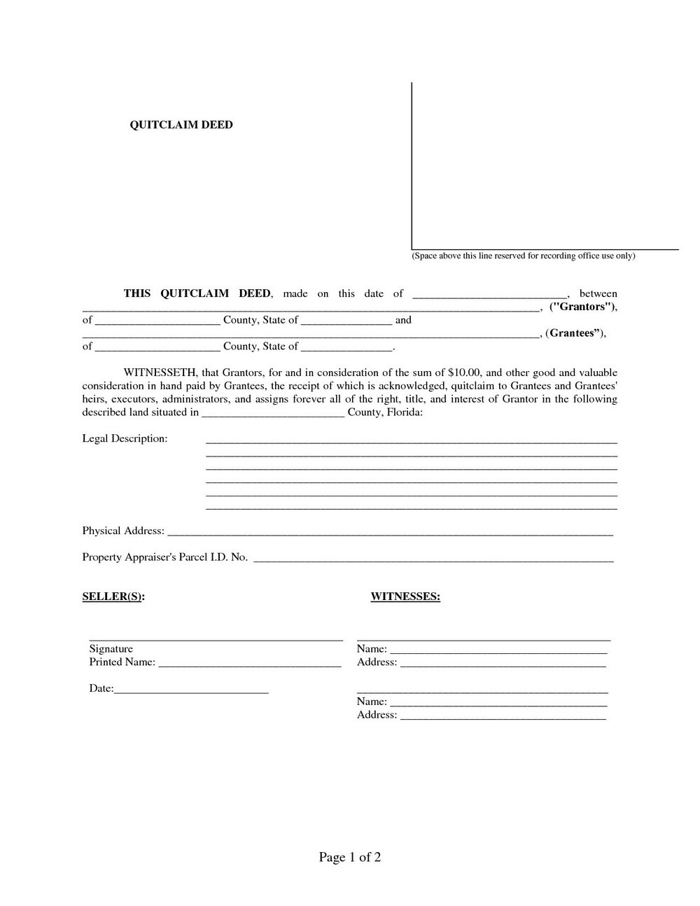 Quit Claim Deed Forms Florida