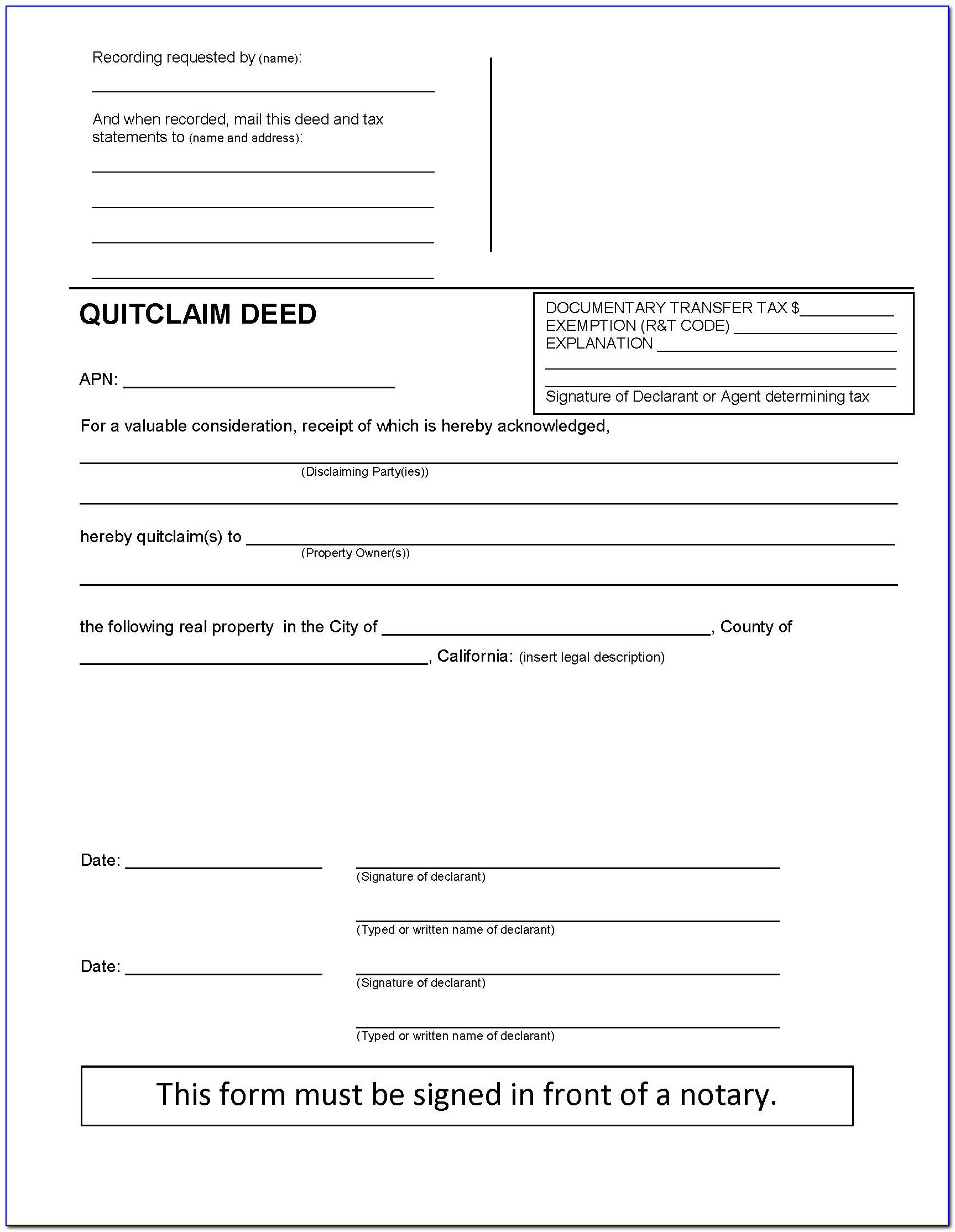 Quit Claim Deed Free Form California