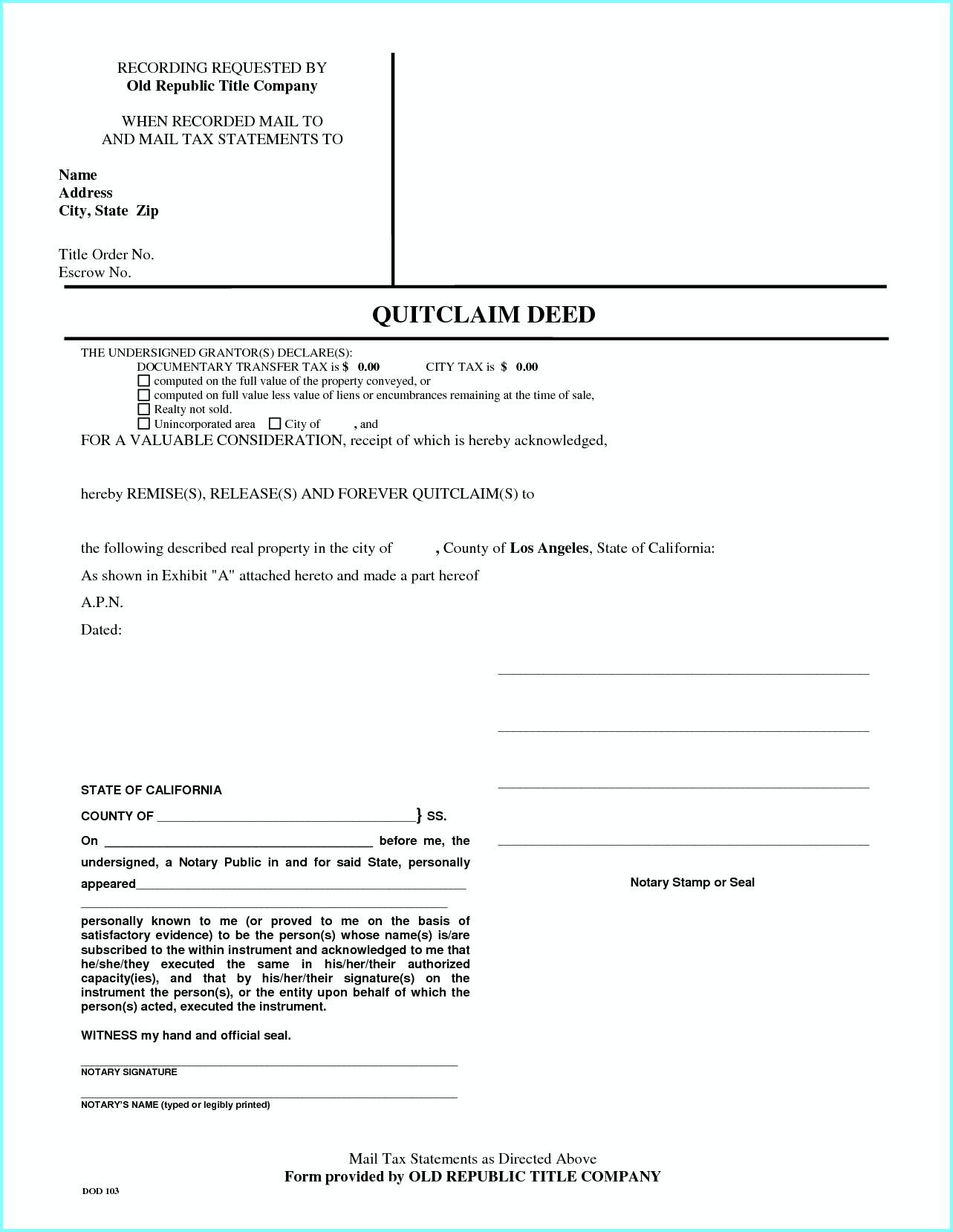 Quit Deed Claim Form California