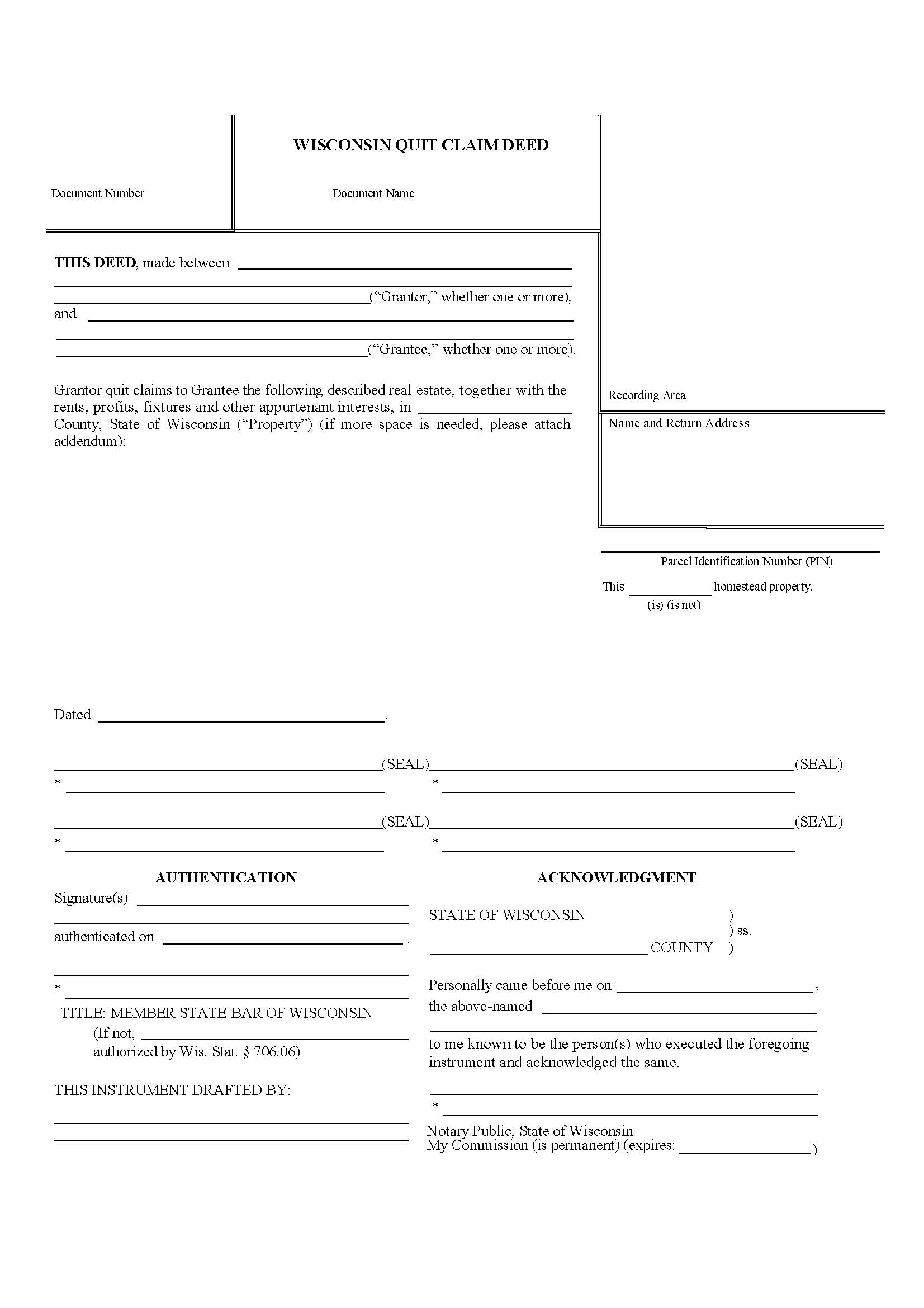 Quit Deed Claim Form Wisconsin
