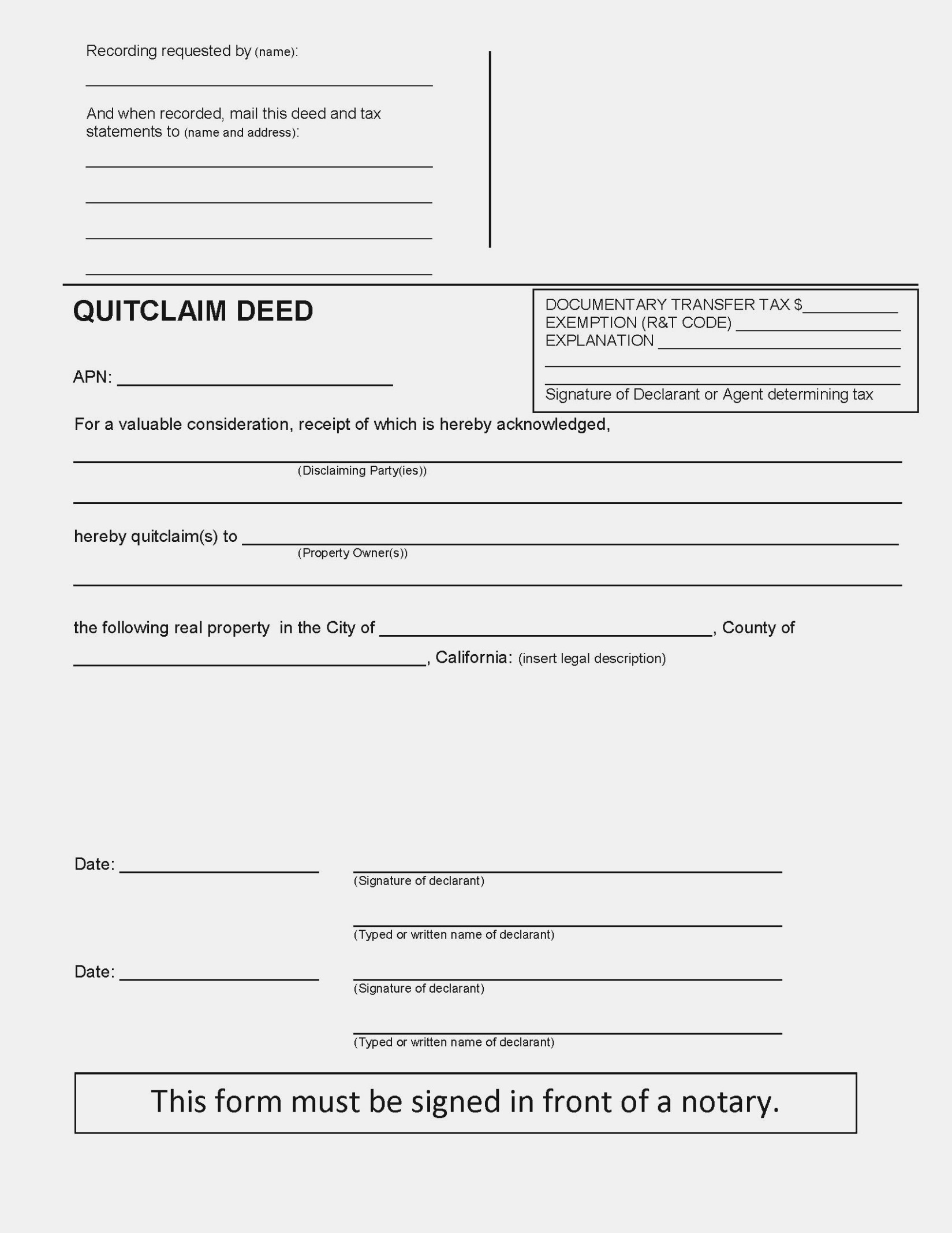 Quit Deed Transfer Form