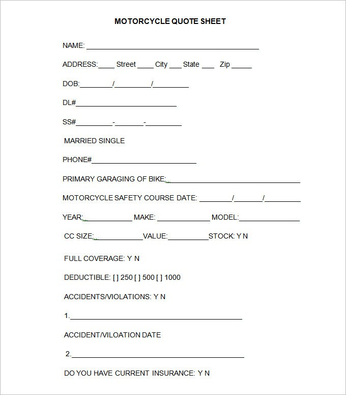 Quotation Analysis Form Template