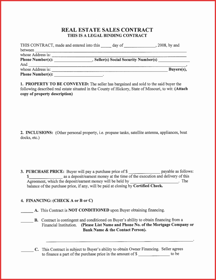 Real Estate Earnest Money Contract Form