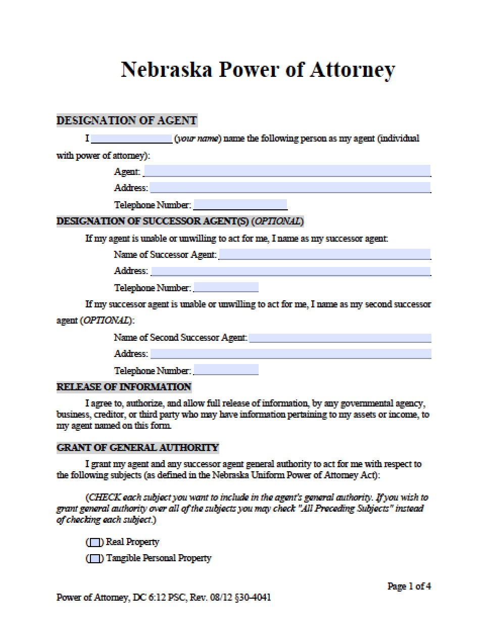 Real Estate Power Of Attorney Form Nebraska
