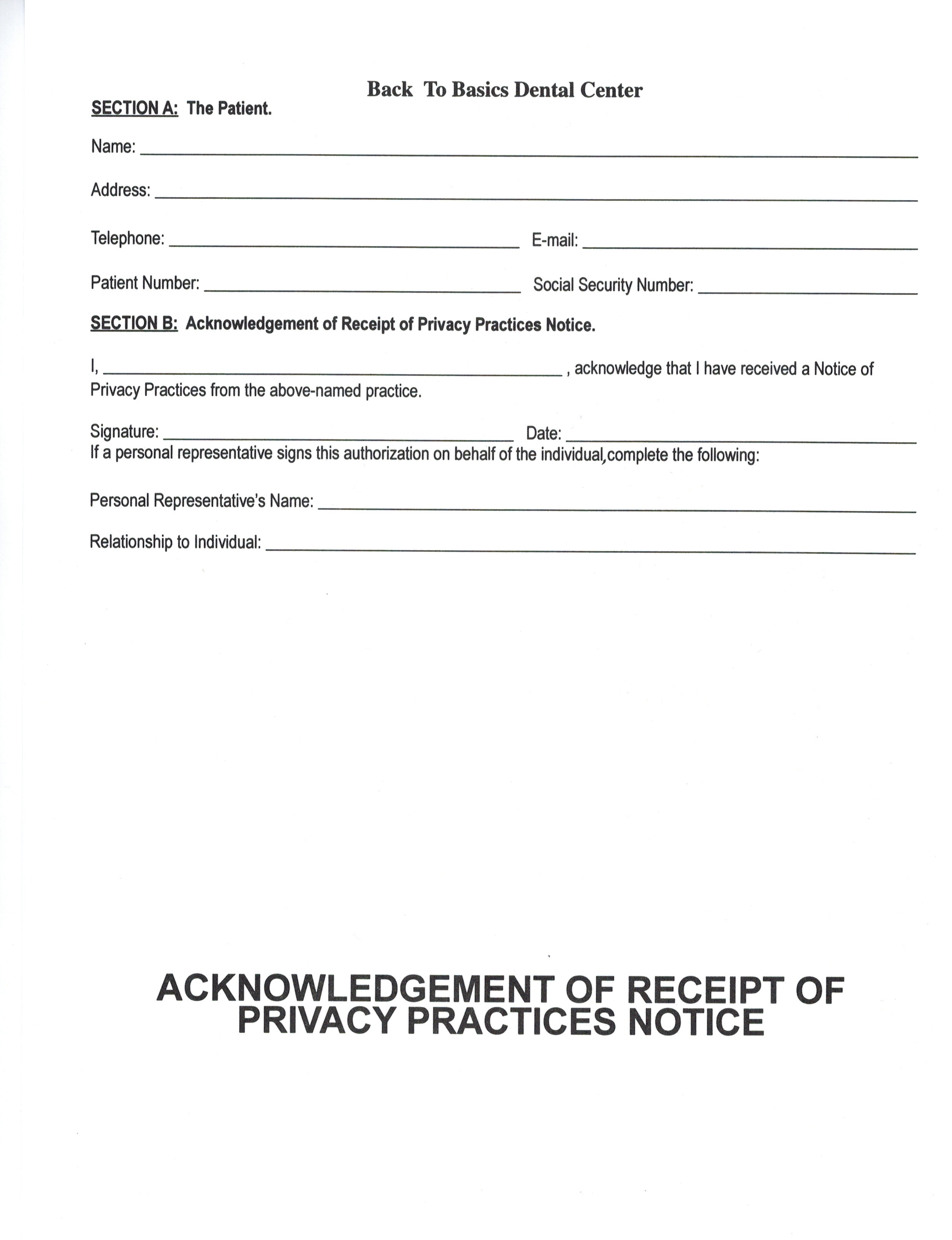 Receipt Of Notice Of Privacy Practices Written Acknowledgement Form