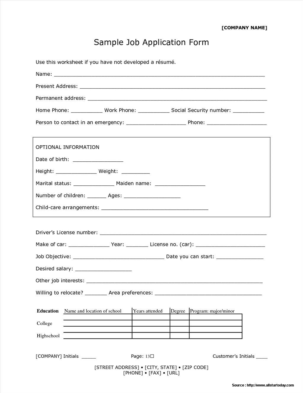 Receptionist Application Form Example