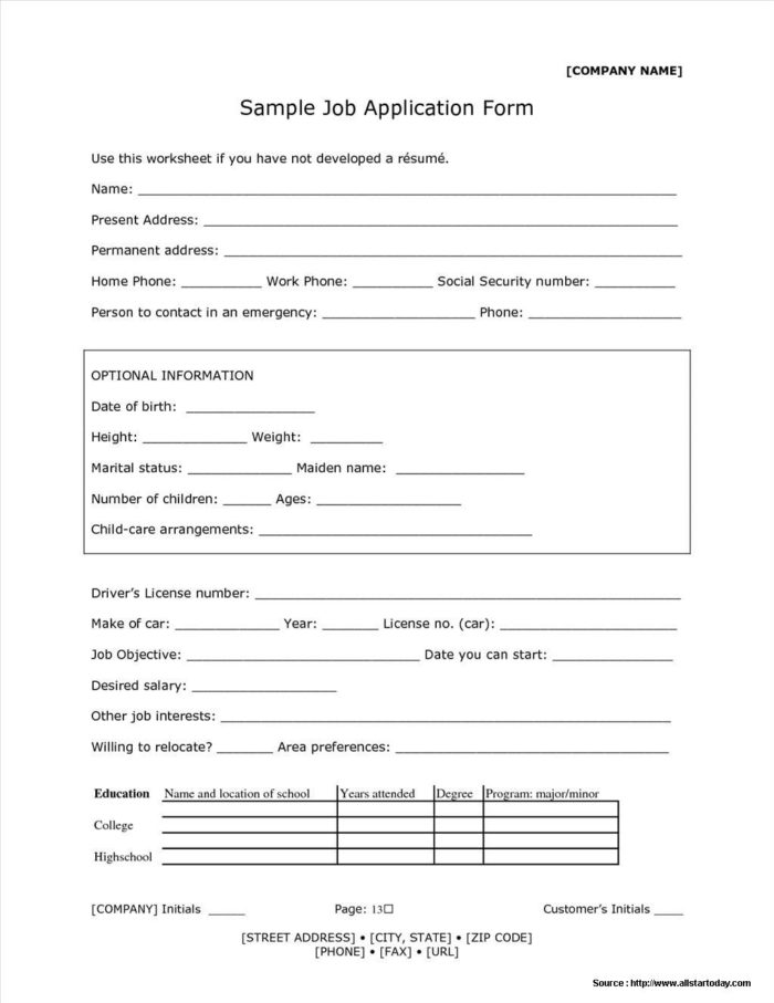 Receptionist Application Form Sample