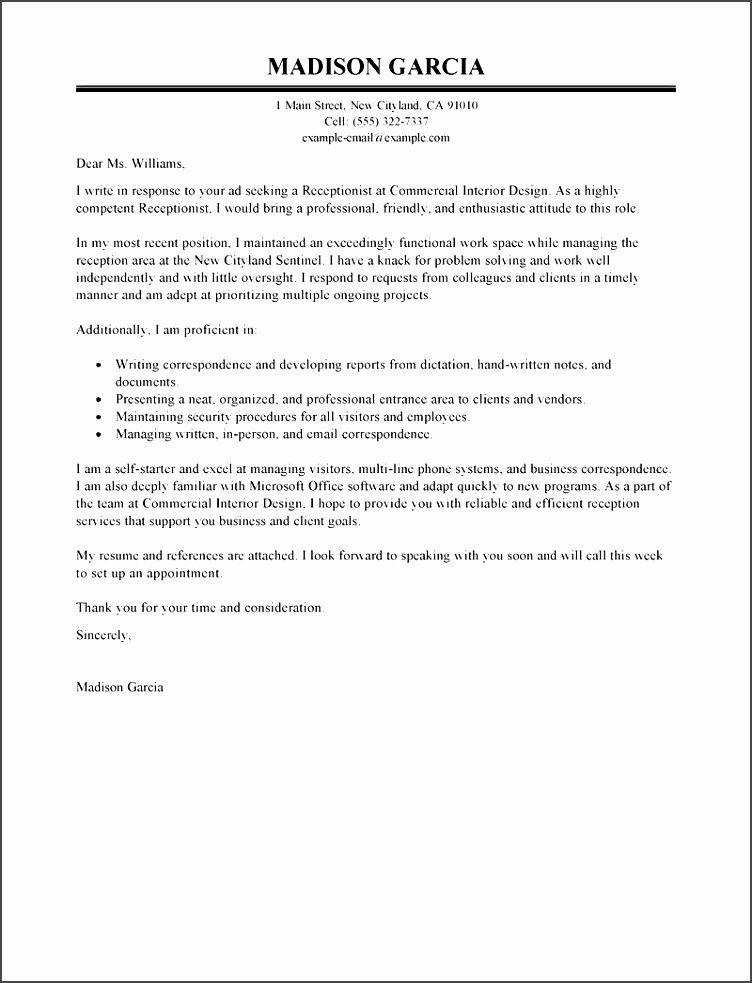 Receptionist Application Format