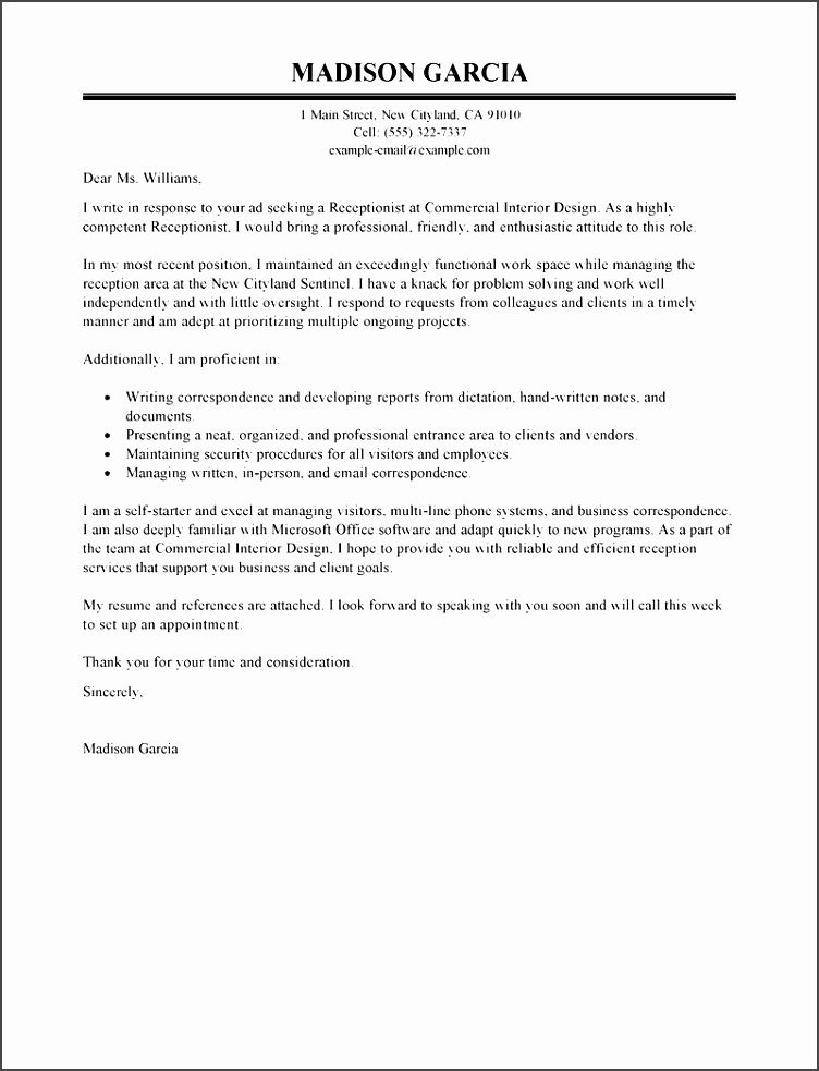 Receptionist Application Letter Format