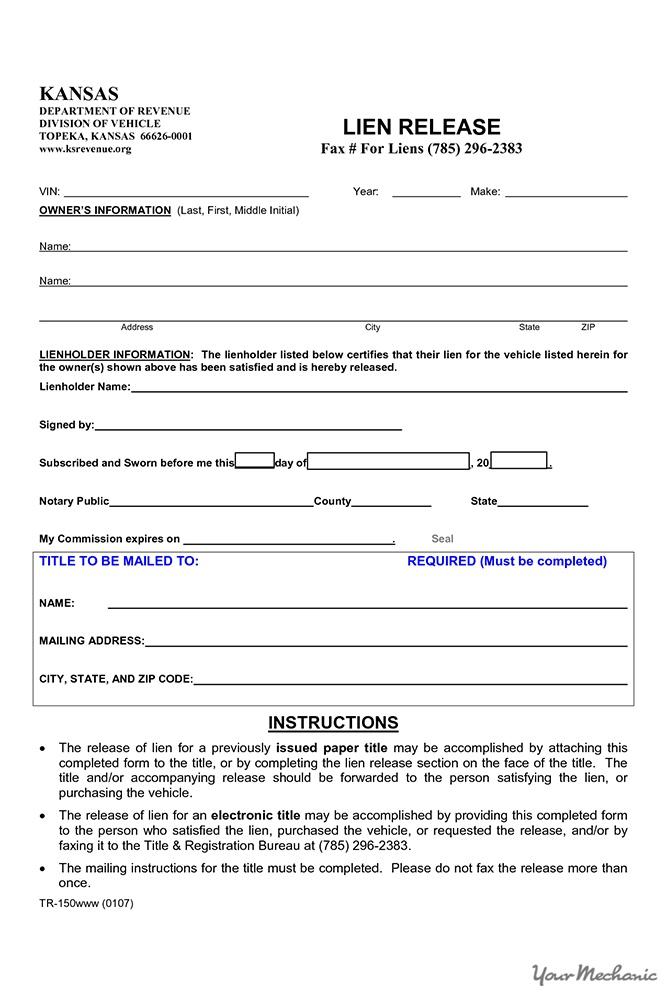 Release Of Lien Form Pennsylvania