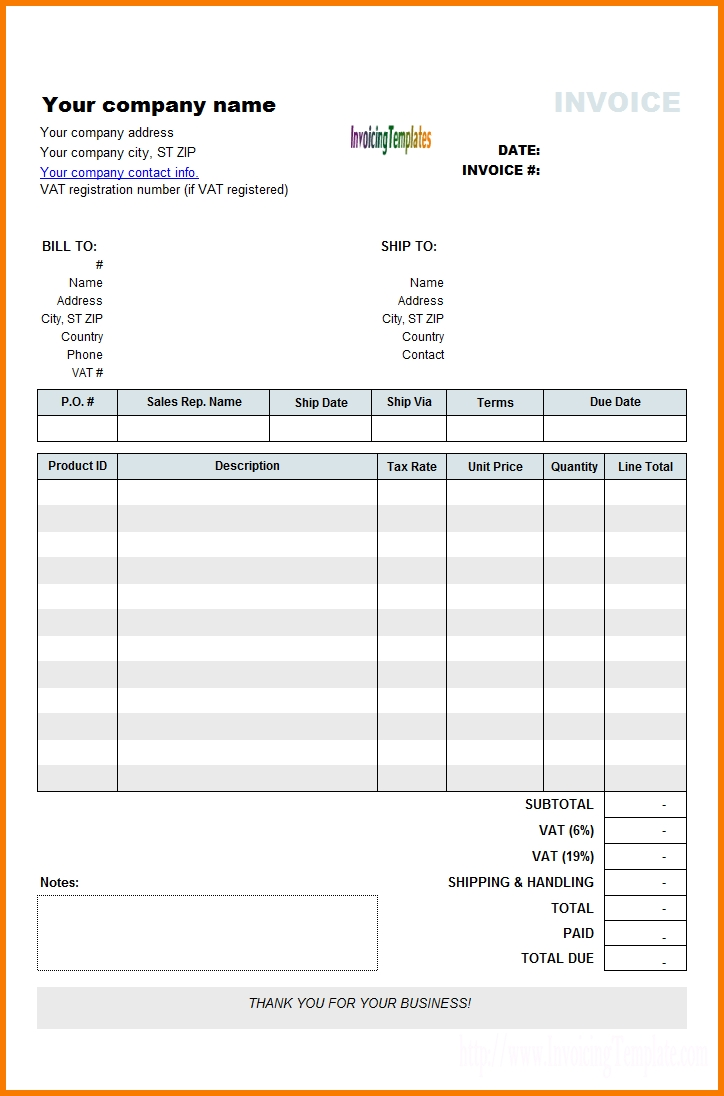 6+ Rent Invoice Template | Receipt Templates Inside Car Rental Invoice Template Word