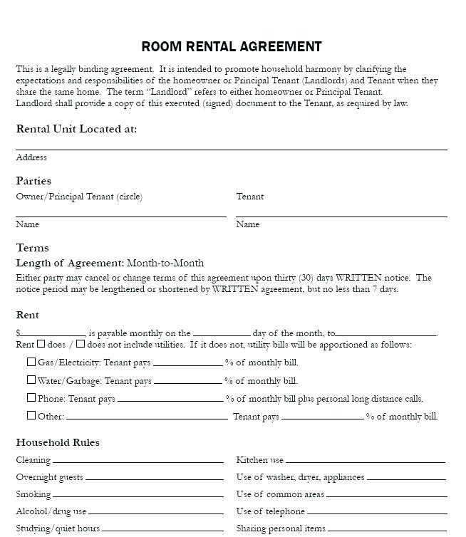 Rent Lease Agreement Form Pdf