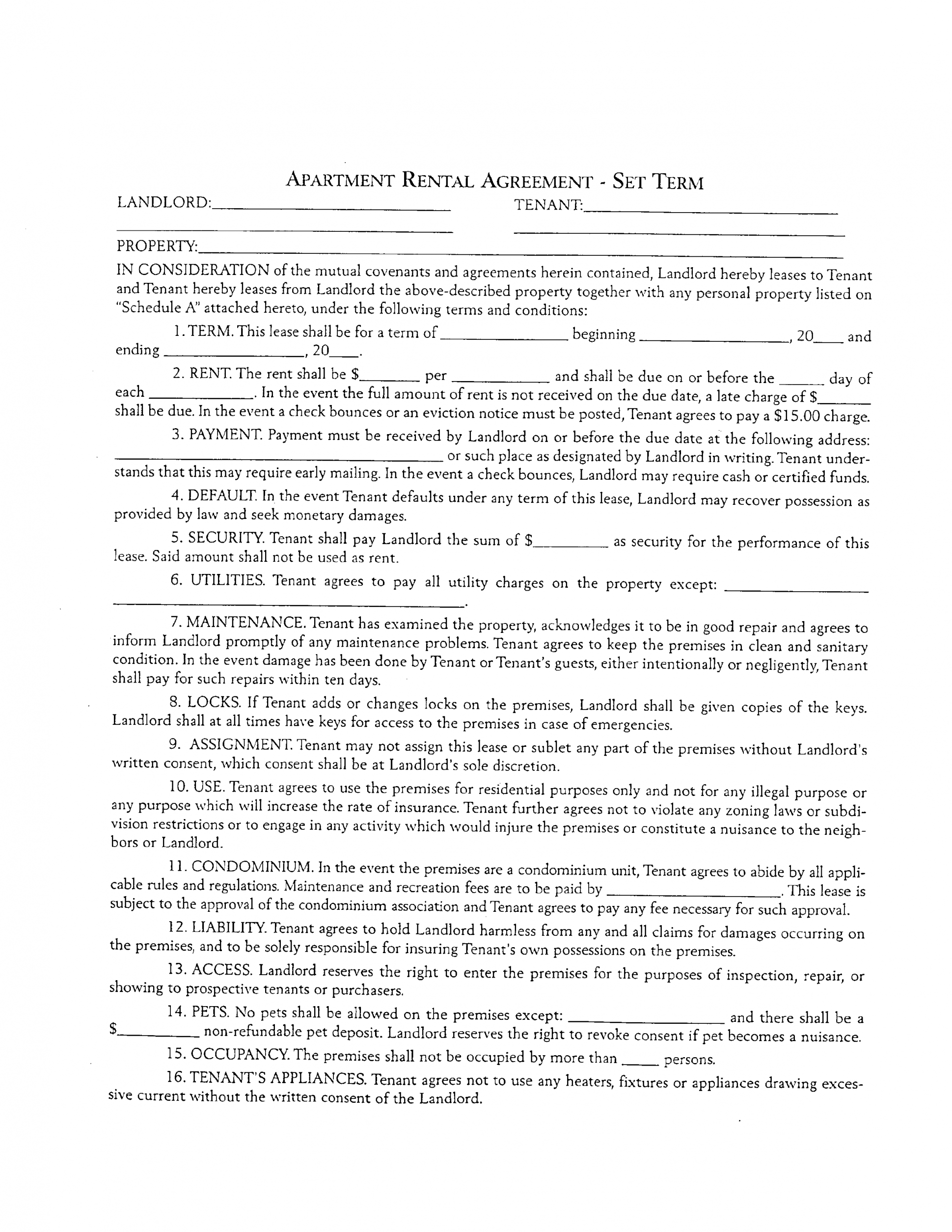 Form: Apartment Rental And Lease Form Inside Apartment Rental Agreement Template