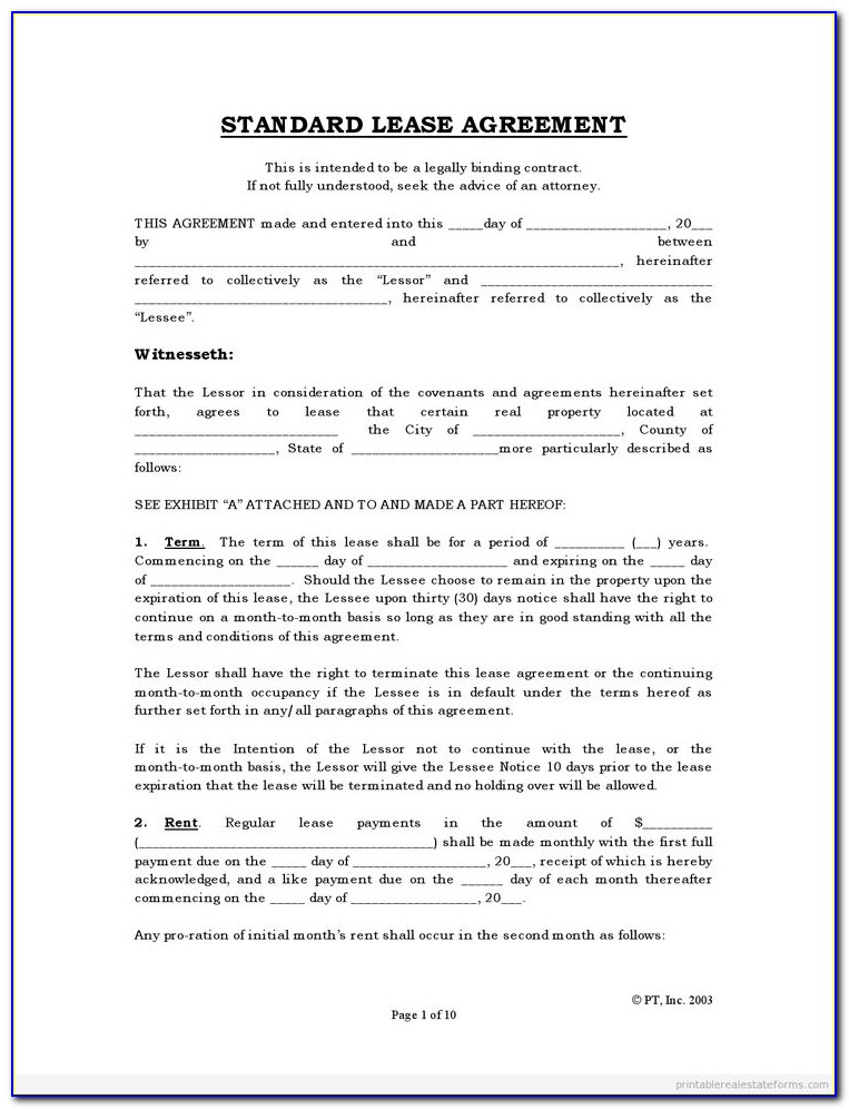 Rental Agreement Form Ontario