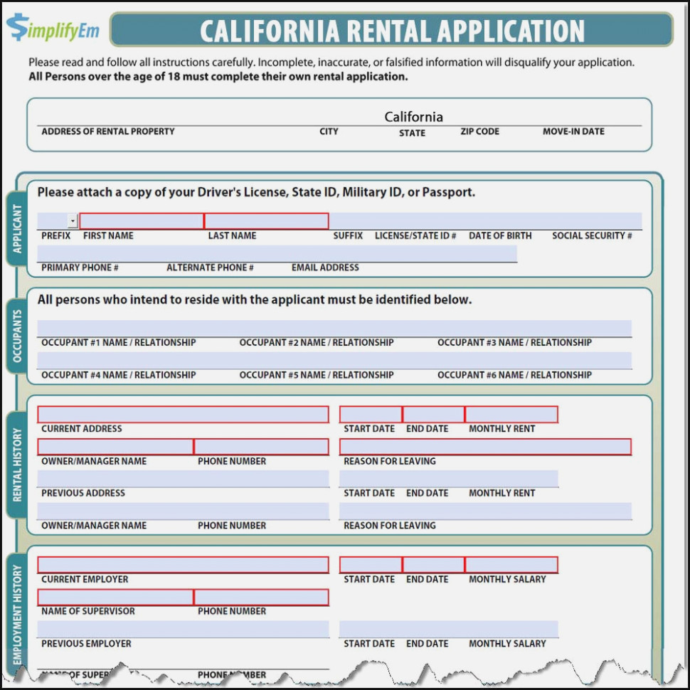 Rental Application Form California Template