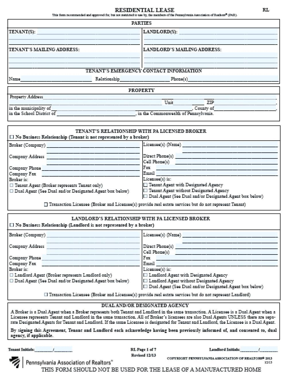 Rental Application Form Pa Pdf