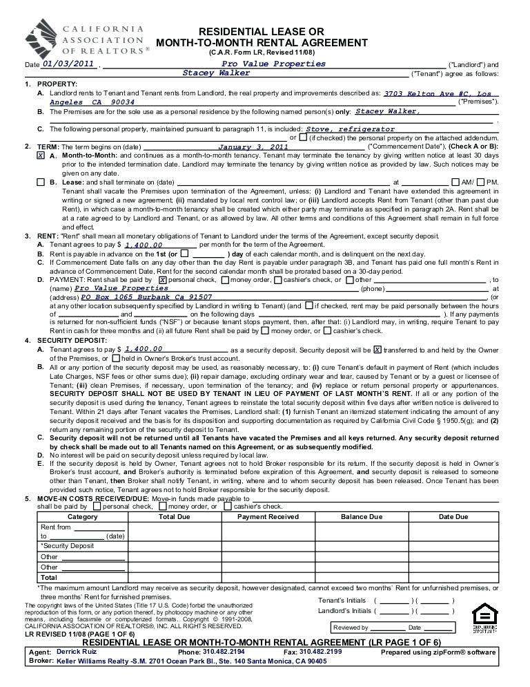 Rental Application Form Pdf California