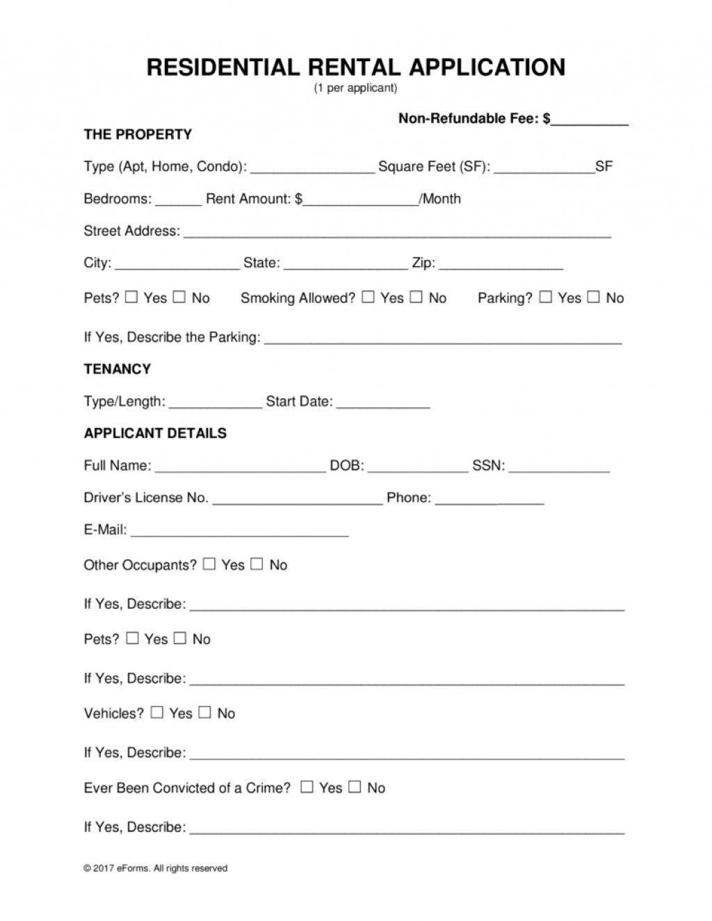 Rental Application Form Pdf Mn