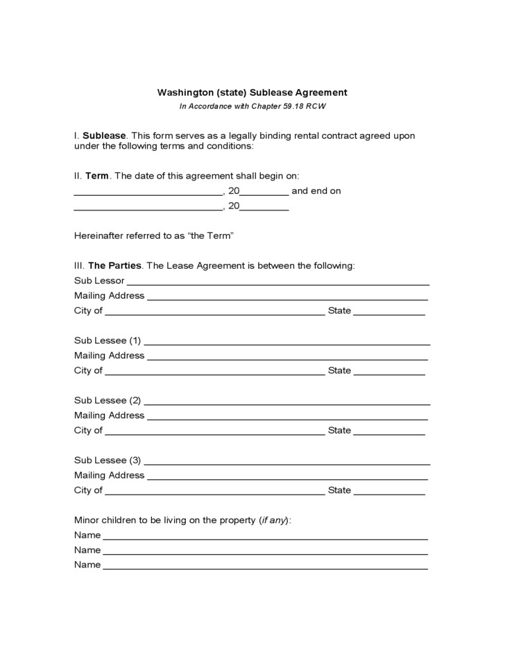 Rental Application Form Washington State Free