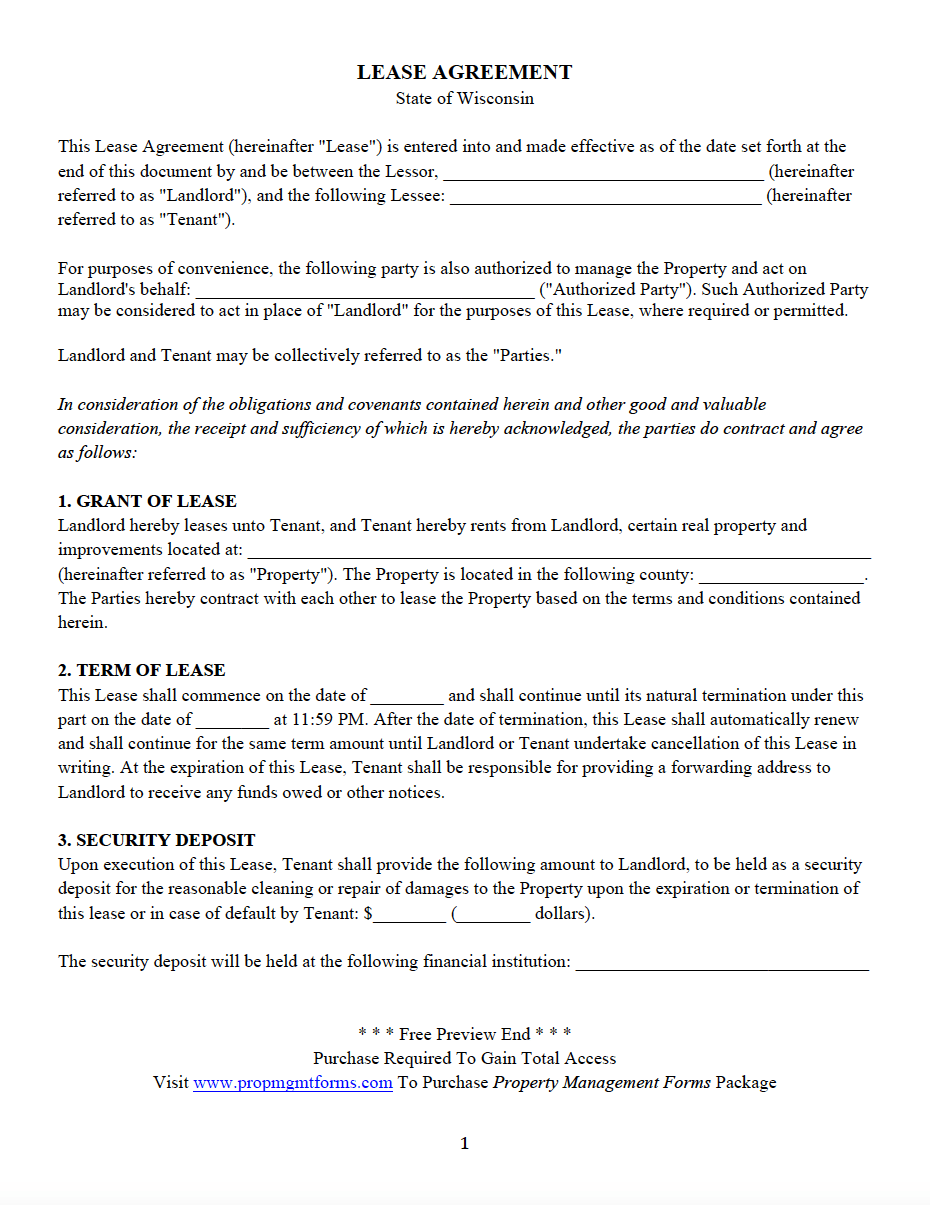 Rental Application Form Wisconsin Free
