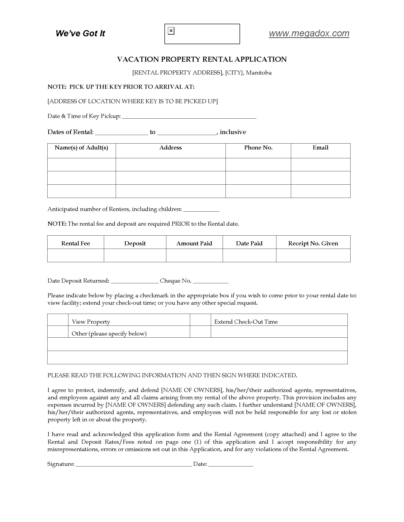 Rental Application Forms Manitoba