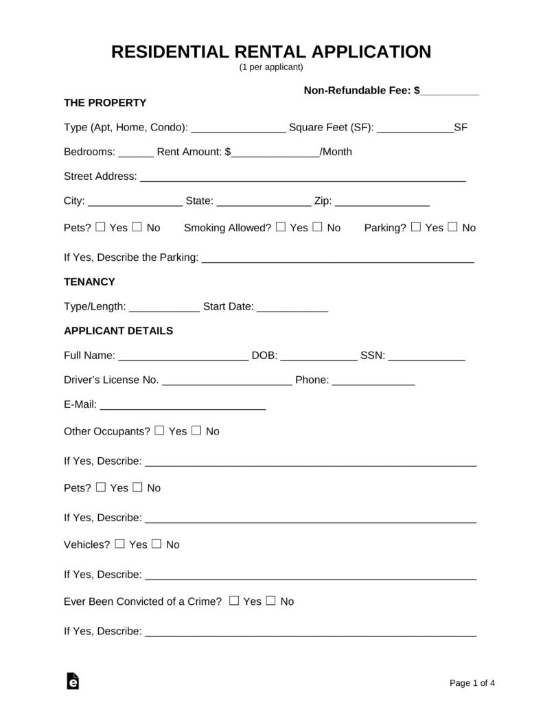 Rental Application Forms Pdf