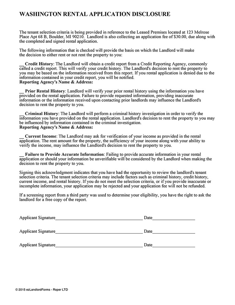 Rental Application Template Washington State