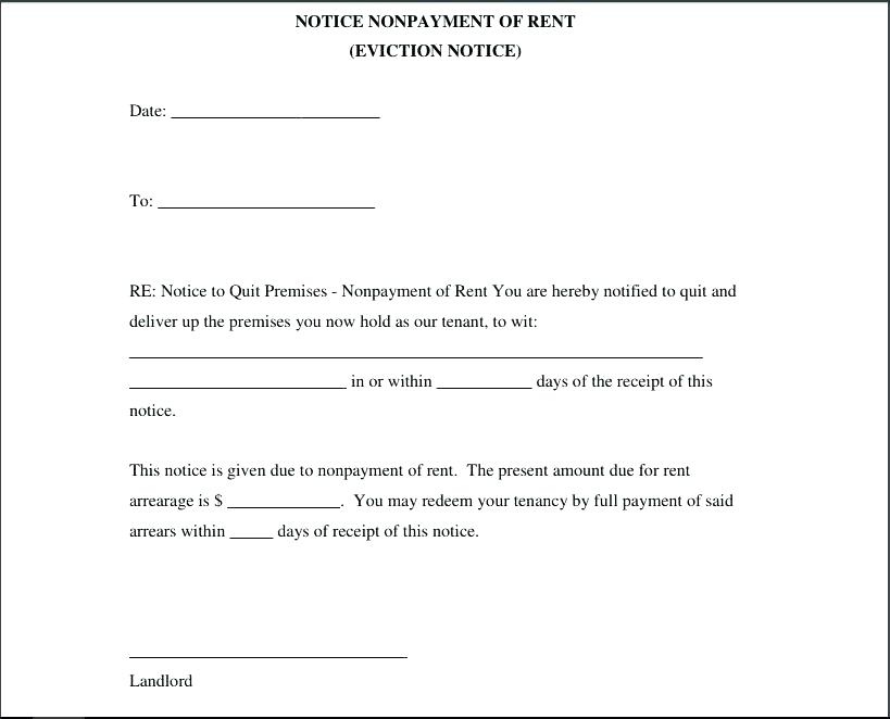 3 Day Eviction Notice Template Landlord Sample Letter To From Tenant Rental Eviction Notice Form