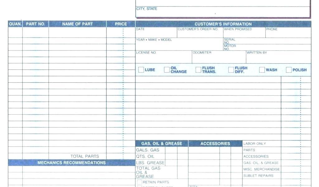 Repair Order Form Template Excel