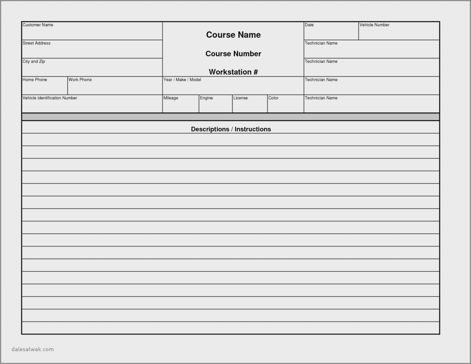 Repair Work Order Form Template