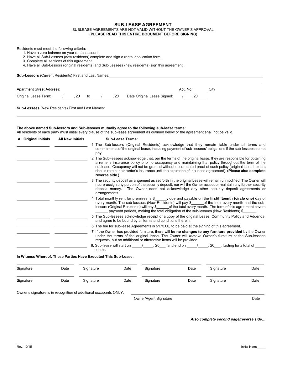 Residential Lease Agreement California Short Form