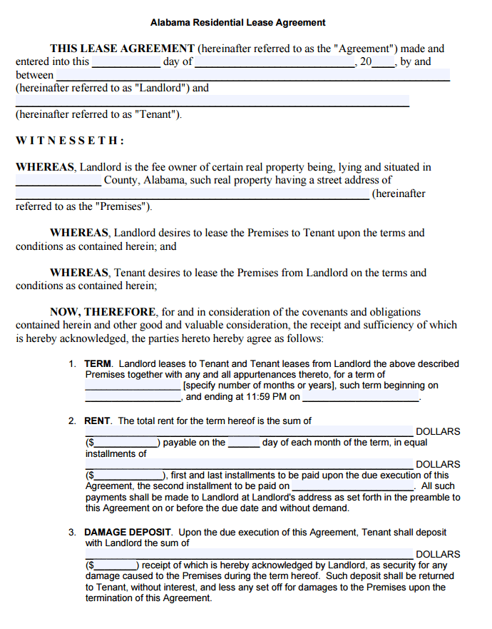 Residential Lease Agreement Form Free Download