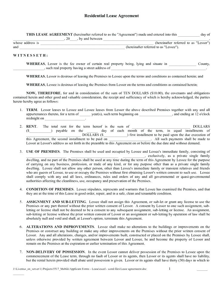 Residential Lease Agreement Form Nj