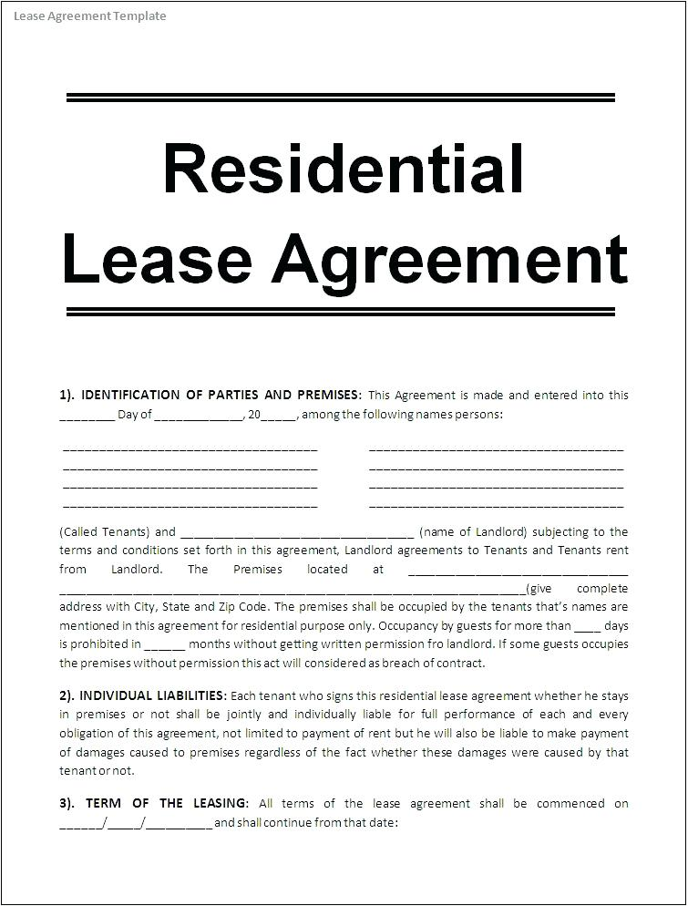 Residential Lease Agreement Format India