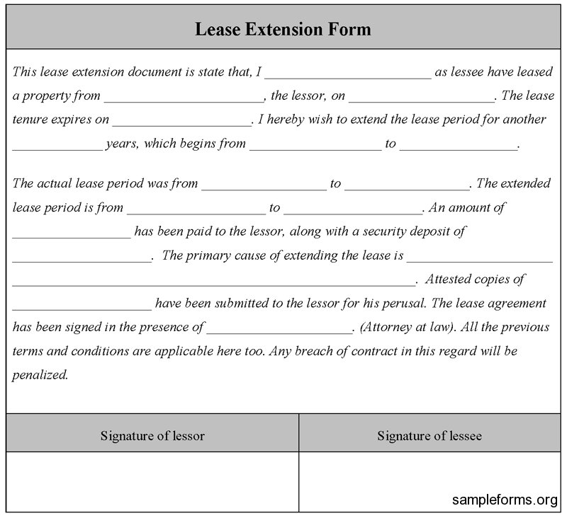 Rental Lease Extension Agreement Residential Lease Renewal Form Free Printable Documents