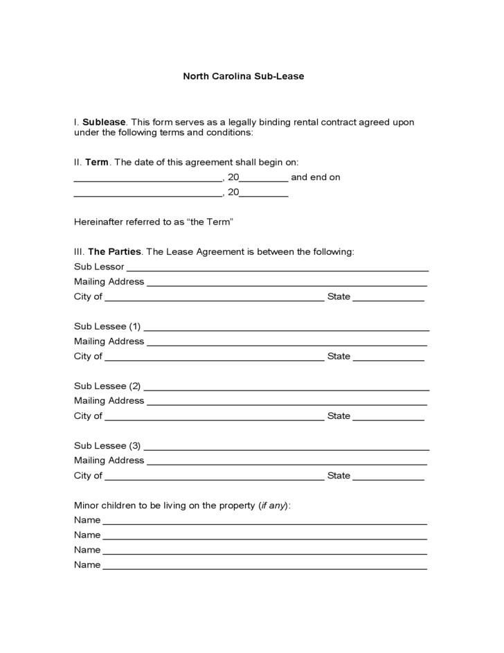 Residential Rental Agreement Form 410 North Carolina
