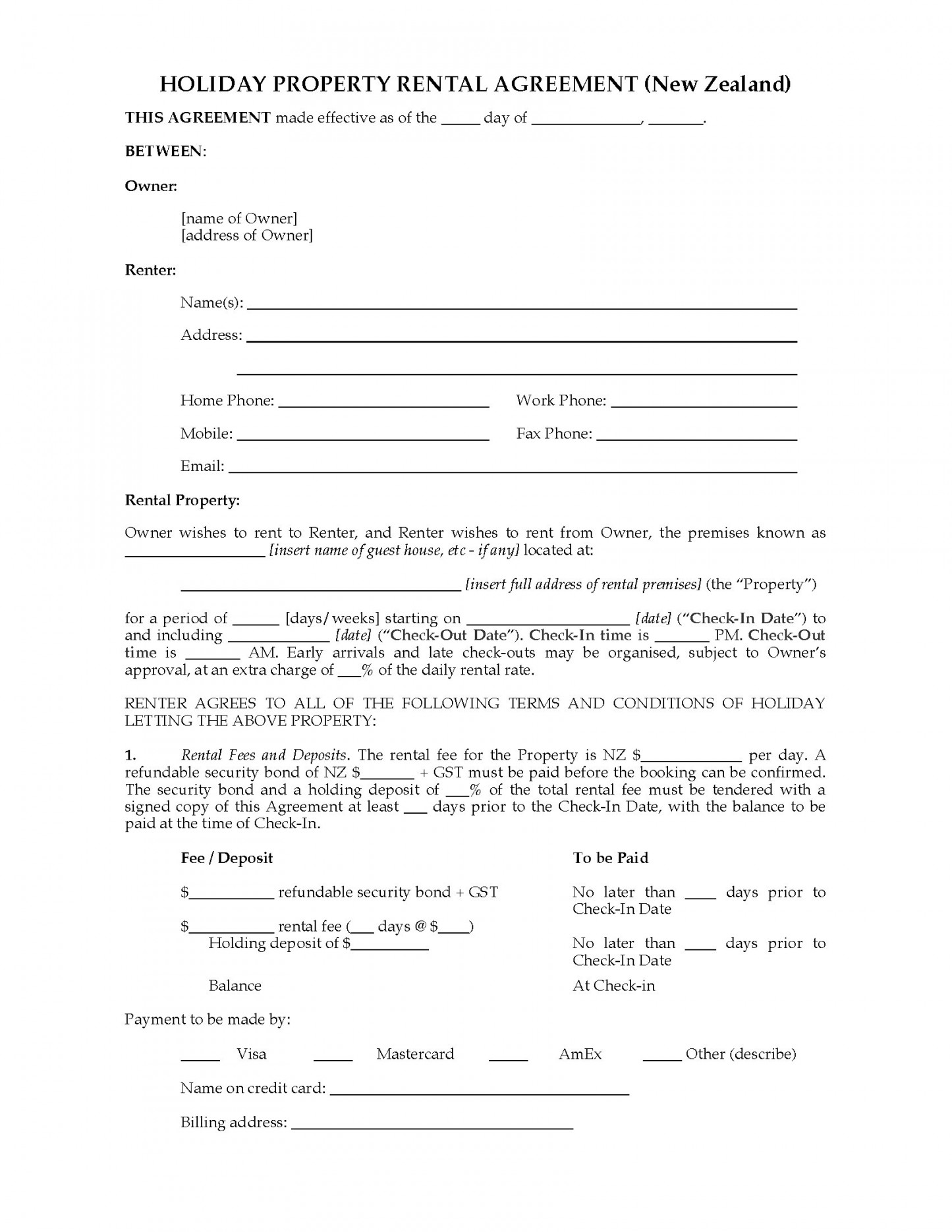 Rental Agreement Template Nz Pic New Zealand Holiday Property Rental Agreement Legal Forms And