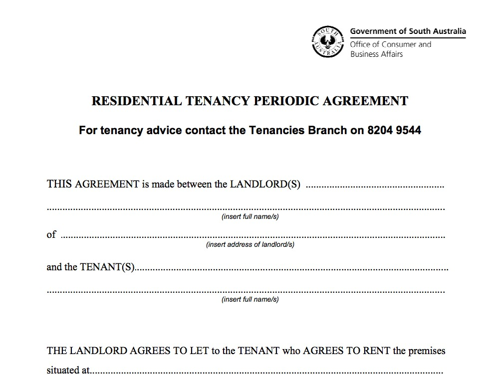 Residential Tenancy Agreement Form Sa