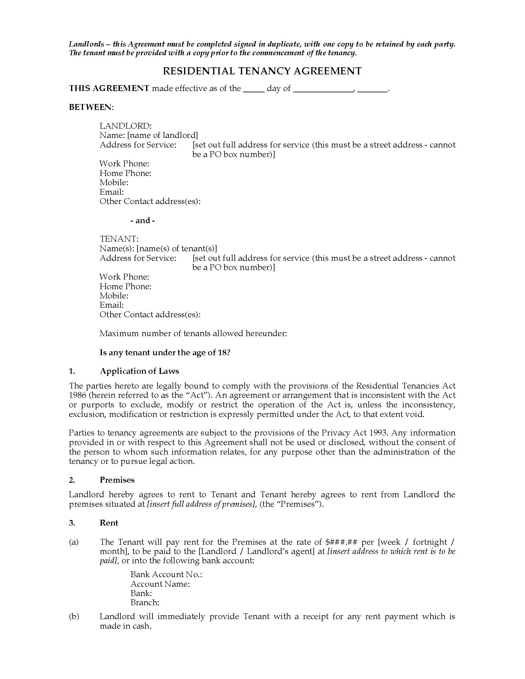 Residential Tenancy Application Form Nz